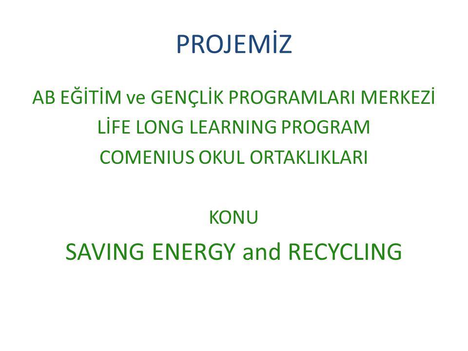 PROJEMİZ AB EĞİTİM ve GENÇLİK PROGRAMLARI MERKEZİ LİFE LONG LEARNING PROGRAM COMENIUS OKUL ORTAKLIKLARI KONU SAVING ENERGY and RECYCLING