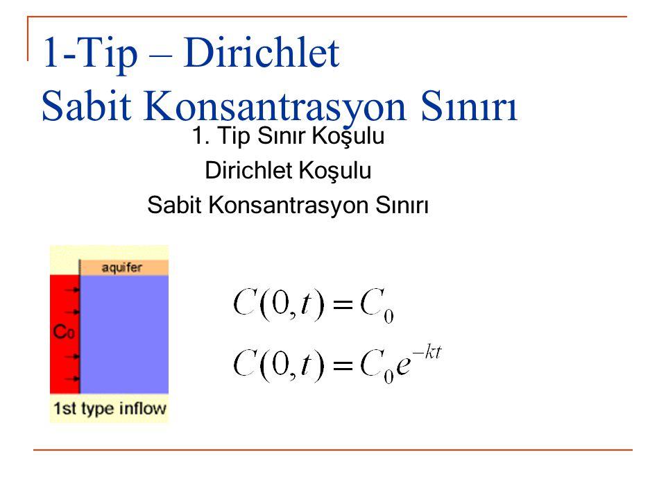 1-Tip – Dirichlet Sabit Konsantrasyon Sınırı 1. Tip Sınır Koşulu Dirichlet Koşulu Sabit Konsantrasyon Sınırı