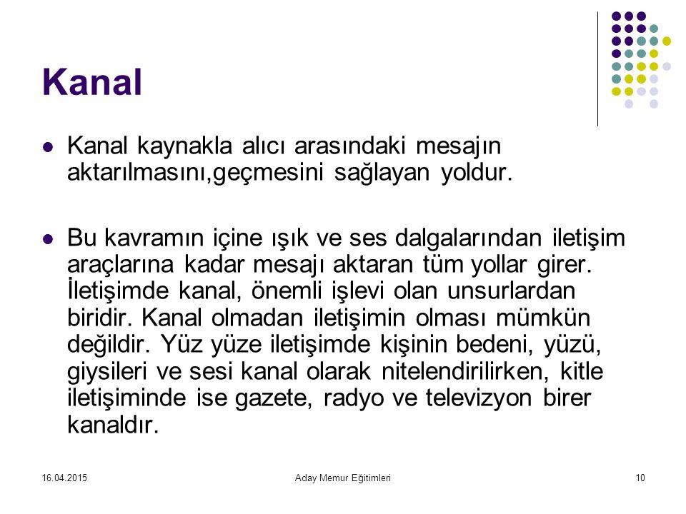 16.04.2015Aday Memur Eğitimleri10 Kanal Kanal kaynakla alıcı arasındaki mesajın aktarılmasını,geçmesini sağlayan yoldur.