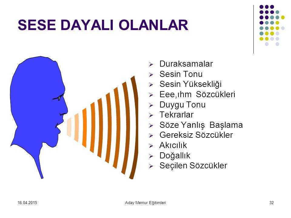 16.04.2015Aday Memur Eğitimleri32 SESE DAYALI OLANLAR  Duraksamalar  Sesin Tonu  Sesin Yüksekliği  Eee,ıhm Sözcükleri  Duygu Tonu  Tekrarlar  Söze Yanlış Başlama  Gereksiz Sözcükler  Akıcılık  Doğallık  Seçilen Sözcükler