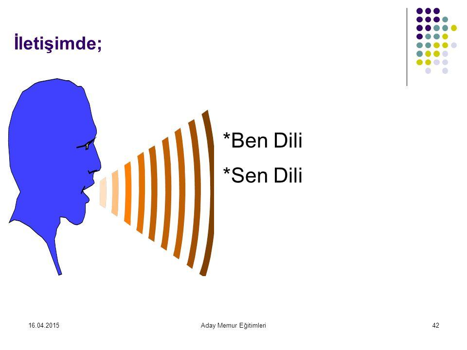 16.04.2015Aday Memur Eğitimleri42 İletişimde; *Sen Dili *Ben Dili