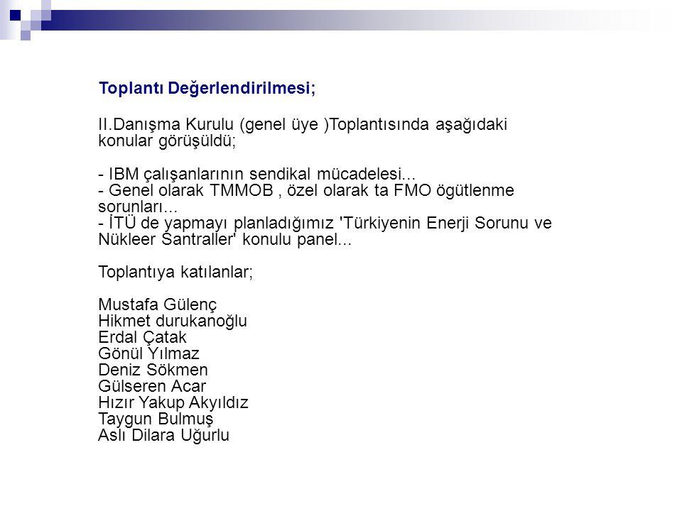 Toplantı Değerlendirilmesi; II.Danışma Kurulu (genel üye )Toplantısında aşağıdaki konular görüşüldü; - IBM çalışanlarının sendikal mücadelesi...