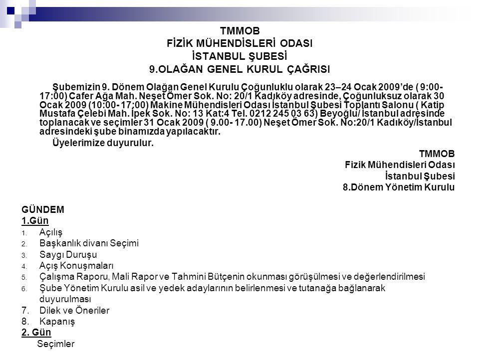 TMMOB FİZİK MÜHENDİSLERİ ODASI İSTANBUL ŞUBESİ 8.DÖNEM ÇALIŞMA RAPORU İstanbul Şube 8.