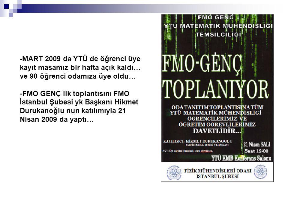 -MART 2009 da YTÜ de öğrenci üye kayıt masamız bir hafta açık kaldı… ve 90 öğrenci odamıza üye oldu… -FMO GENÇ ilk toplantısını FMO İstanbul Şubesi yk Başkanı Hikmet Durukanoğlu nun katılımıyla 21 Nisan 2009 da yaptı…