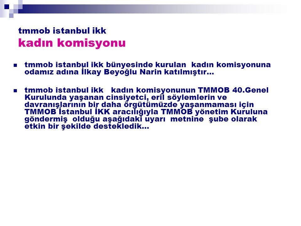 tmmob istanbul ikk kadın komisyonu tmmob istanbul ikk bünyesinde kurulan kadın komisyonuna odamız adına İlkay Beyoğlu Narin katılmıştır… tmmob istanbul ikk kadın komisyonunun TMMOB 40.Genel Kurulunda yaşanan cinsiyetci, eril söylemlerin ve davranışlarının bir daha örgütümüzde yaşanmaması için TMMOB İstanbul İKK aracılığıyla TMMOB yönetim Kuruluna göndermiş olduğu aşağıdaki uyarı metnine şube olarak etkin bir şekilde destekledik…