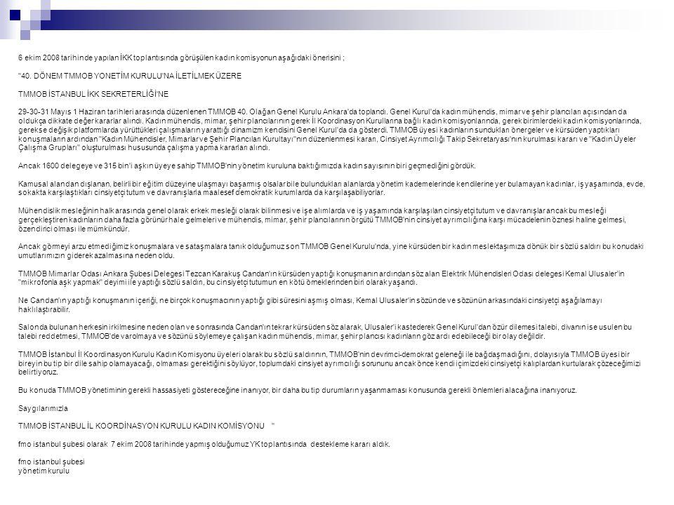 6 ekim 2008 tarihinde yapılan İKK toplantısında görüşülen kadın komisyonun aşağıdaki önerisini ; 40.