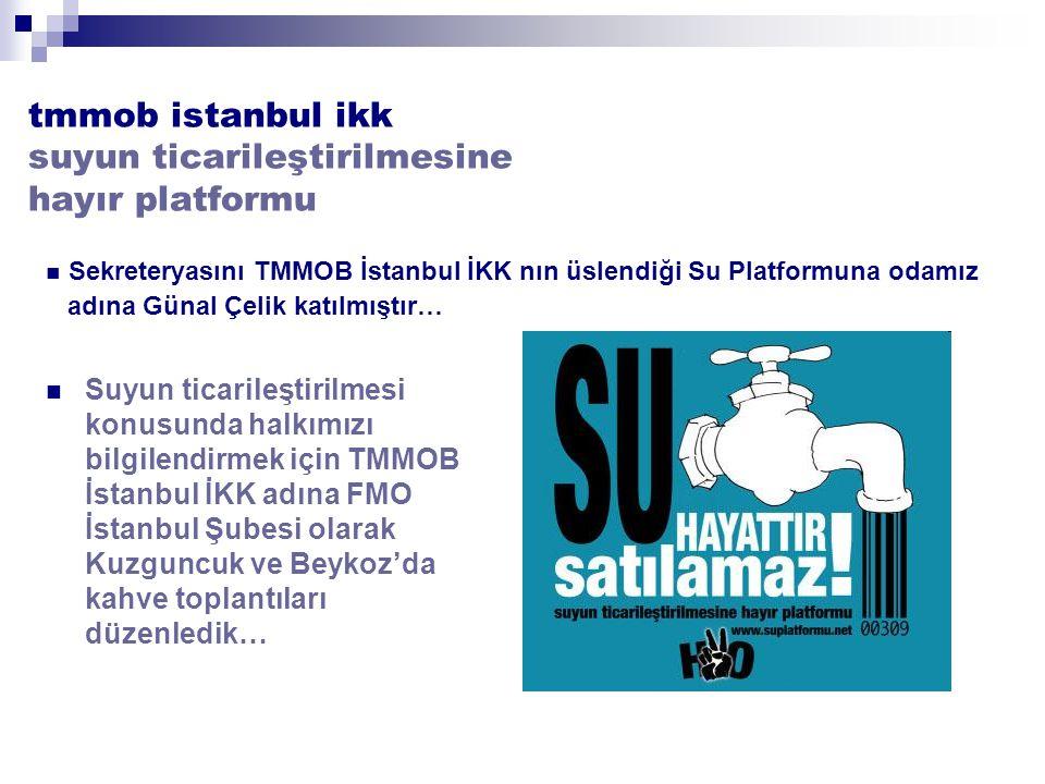 tmmob istanbul ikk suyun ticarileştirilmesine hayır platformu Suyun ticarileştirilmesi konusunda halkımızı bilgilendirmek için TMMOB İstanbul İKK adına FMO İstanbul Şubesi olarak Kuzguncuk ve Beykoz'da kahve toplantıları düzenledik… Sekreteryasını TMMOB İstanbul İKK nın üslendiği Su Platformuna odamız adına Günal Çelik katılmıştır…