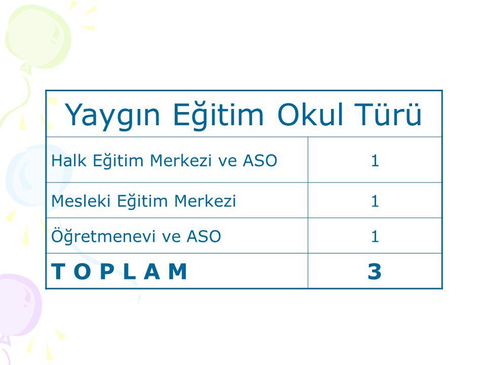 Yaygın Eğitim Okul Türü Halk Eğitim Merkezi ve ASO1 Mesleki Eğitim Merkezi1 Öğretmenevi ve ASO1 T O P L A M3