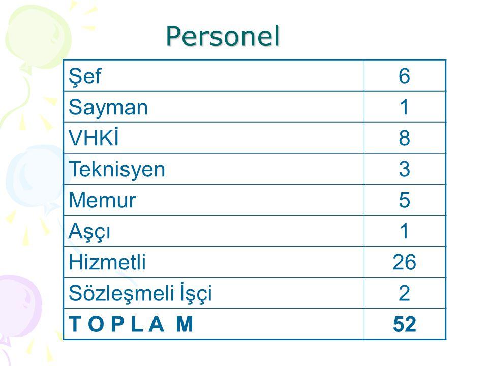 Personel Şef6 Sayman1 VHKİ8 Teknisyen3 Memur5 Aşçı1 Hizmetli26 Sözleşmeli İşçi2 T O P L A M52