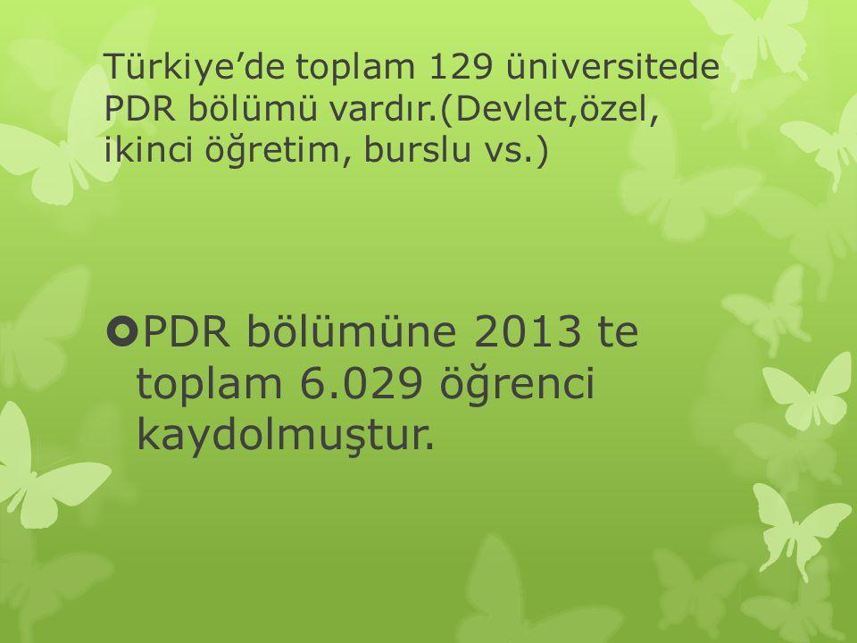 Türkiye'de toplam 129 üniversitede PDR bölümü vardır.(Devlet,özel, ikinci öğretim, burslu vs.)  PDR bölümüne 2013 te toplam 6.029 öğrenci kaydolmuştu