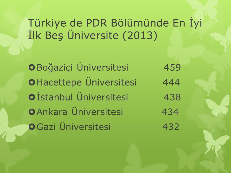 Türkiye de PDR Bölümünde En İyi İlk Beş Üniversite (2013)  Boğaziçi Üniversitesi 459  Hacettepe Üniversitesi 444  İstanbul Üniversitesi 438  Ankar
