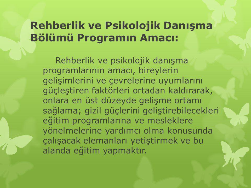 Rehberlik ve Psikolojik Danışma Bölümü Programın Amacı: Rehberlik ve psikolojik danışma programlarının amacı, bireylerin gelişimlerini ve çevrelerine