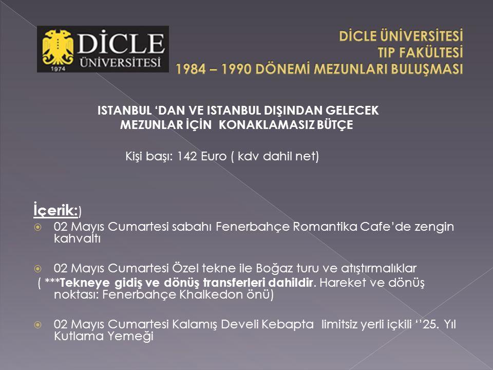 İçerik: )  02 Mayıs Cumartesi sabahı Fenerbahçe Romantika Cafe'de zengin kahvaltı  02 Mayıs Cumartesi Özel tekne ile Boğaz turu ve atıştırmalıklar ( *** Tekneye gidiş ve dönüş transferleri dahildir.