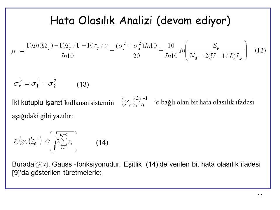 11 Hata Olasılık Analizi (devam ediyor) (13) İki kutuplu işaret kullanan sistemin 'e bağlı olan bit hata olasılık ifadesi aşağıdaki gibi yazılır: (14) Burada, Gauss -fonksiyonudur.