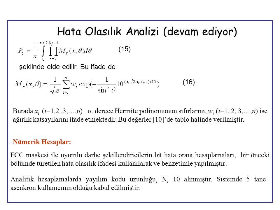 12 (15) şeklinde elde edilir. Bu ifade de (16) Burada x i (i=1,2,3,…,n) n. derece Hermite polinomunun sıfırlarını, w i (i=1, 2, 3,…,n) ise ağırlık kat