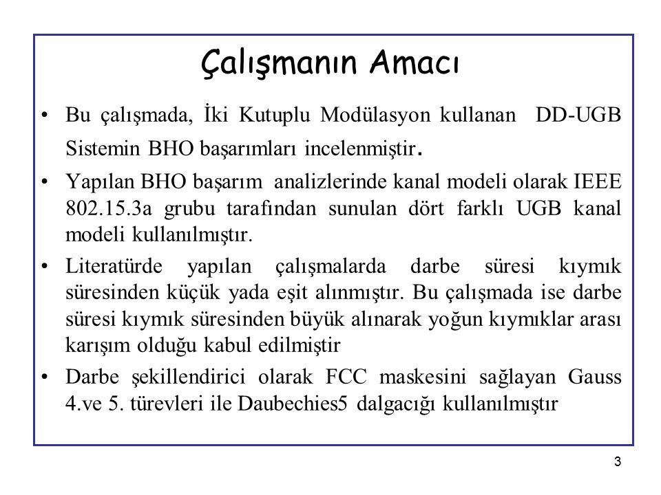 3 Çalışmanın Amacı Bu çalışmada, İki Kutuplu Modülasyon kullanan DD-UGB Sistemin BHO başarımları incelenmiştir. Yapılan BHO başarım analizlerinde kana