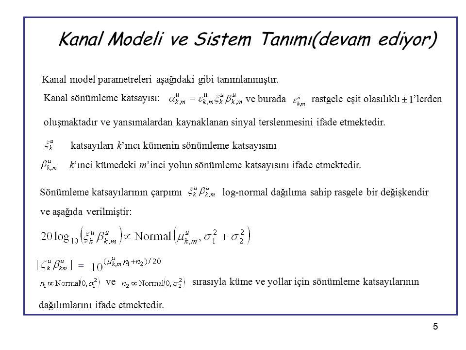 5 Kanal Modeli ve Sistem Tanımı(devam ediyor) Kanal model parametreleri aşağıdaki gibi tanımlanmıştır. Kanal sönümleme katsayısı: ve buradarastgele eş