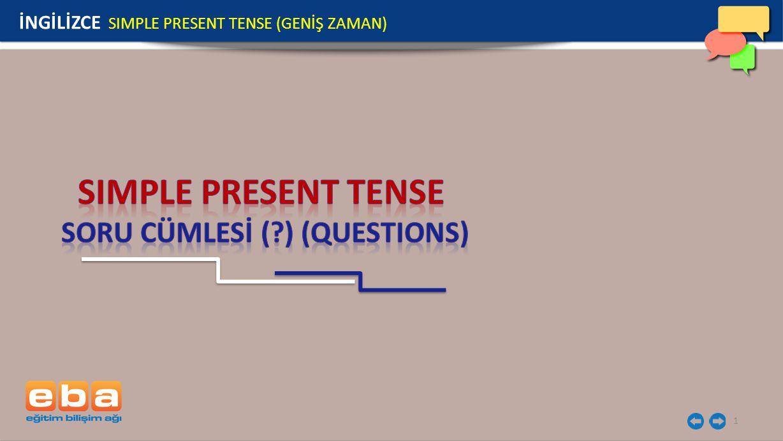 2 SORU CÜMLESİ YES / NO QUESTIONS WH- QUESTIONS İNGİLİZCE SIMPLE PRESENT TENSE (GENİŞ ZAMAN)
