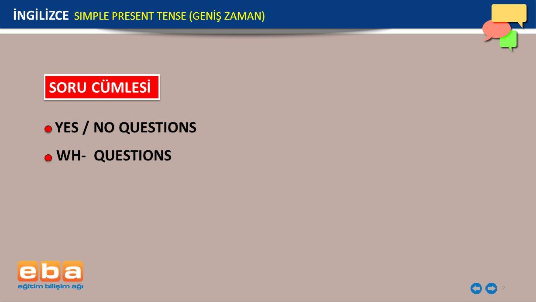 3 YES/NO QUESTIONS Soru cümlesi yaparken do yardımcı fiili sonra I / we/ you/ they özneleri ve fiilin yalın hali getirilir.