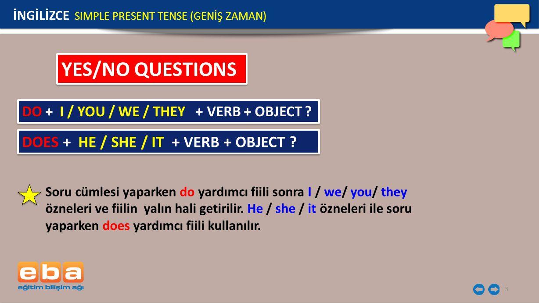 3 YES/NO QUESTIONS Soru cümlesi yaparken do yardımcı fiili sonra I / we/ you/ they özneleri ve fiilin yalın hali getirilir. He / she / it özneleri ile