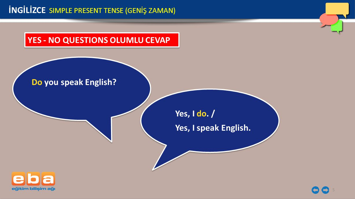 5 YES - NO QUESTIONS OLUMLU CEVAP Do you speak English.