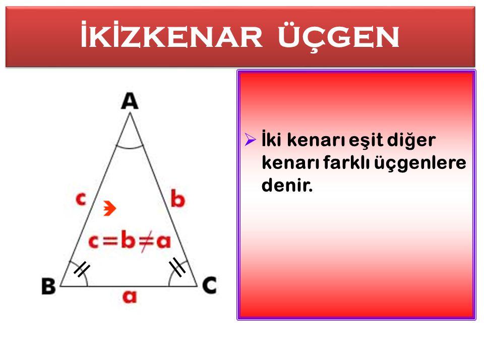 E Ş KENAR ÜÇGEN E Ş KENAR ÜÇGEN  Kenar uzunlukları e ş it olan üçgen çe ş ididir. KKenar uzunlukları e ş it olan üçgen çe ş ididir.