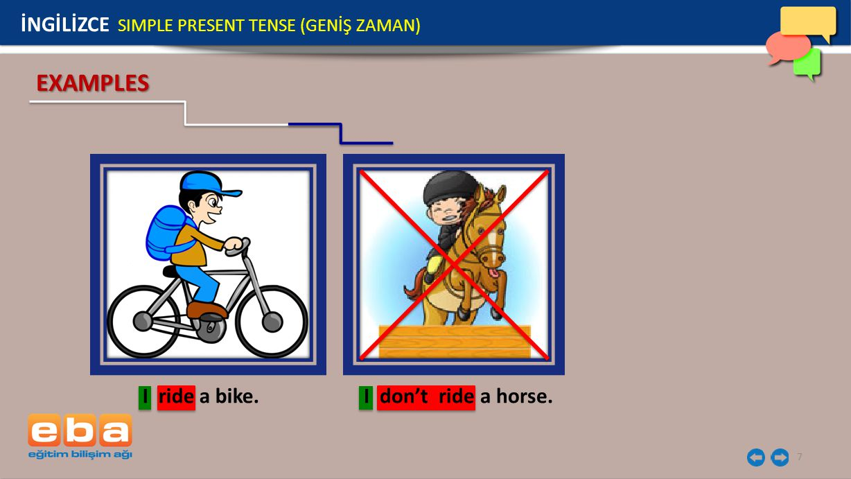 7 İNGİLİZCE SIMPLE PRESENT TENSE (GENİŞ ZAMAN) EXAMPLES I ride a bike.I don't ride a horse.