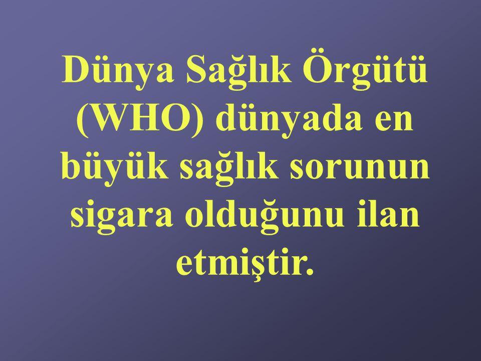 Dünya Sağlık Örgütü (WHO) dünyada en büyük sağlık sorunun sigara olduğunu ilan etmiştir.