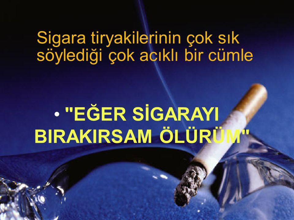 EĞER SİGARAYI BIRAKIRSAM ÖLÜRÜM Sigara tiryakilerinin çok sık söylediği çok acıklı bir cümle