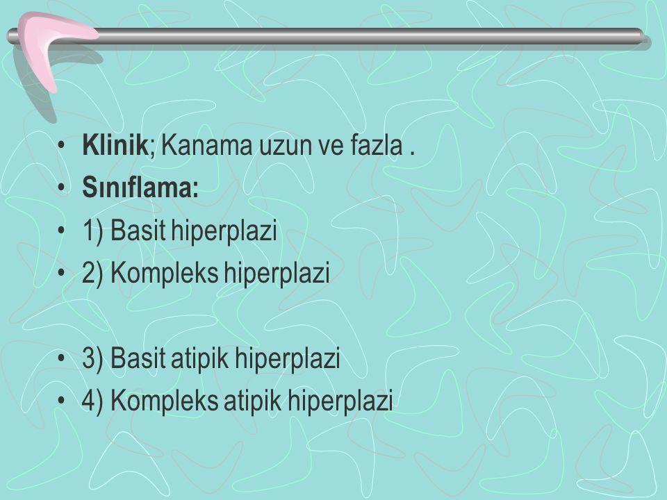 Klinik ; Kanama uzun ve fazla. Sınıflama: 1) Basit hiperplazi 2) Kompleks hiperplazi 3) Basit atipik hiperplazi 4) Kompleks atipik hiperplazi