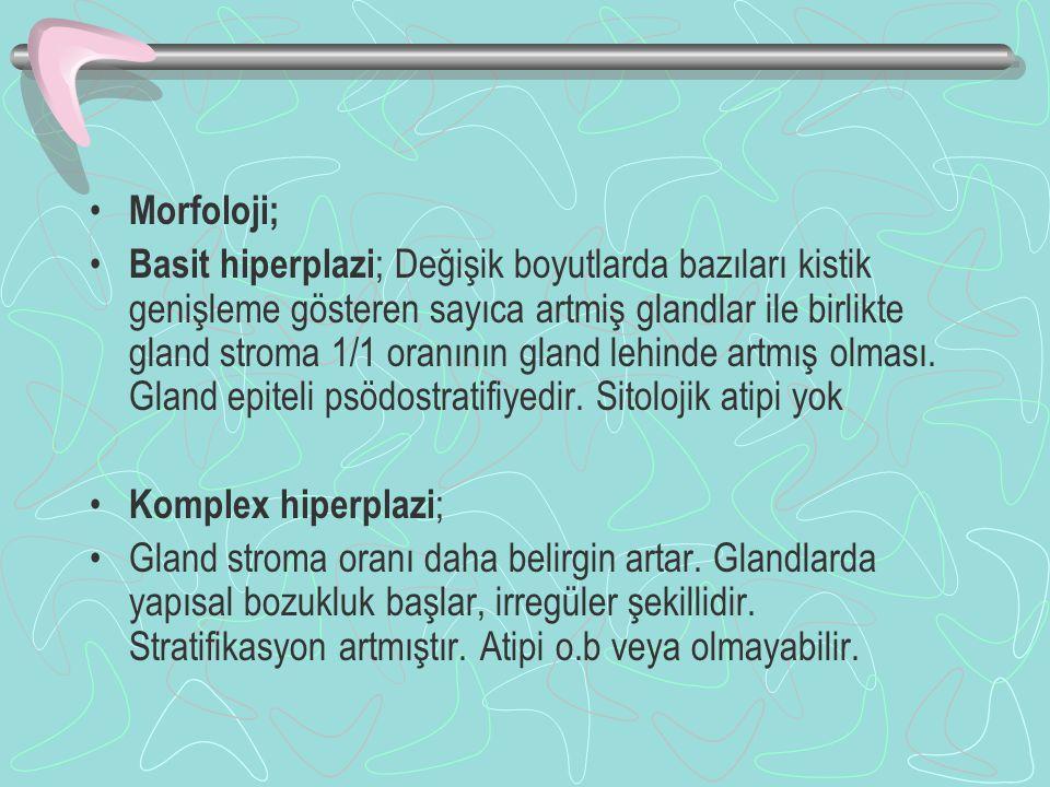 Morfoloji; Basit hiperplazi ; Değişik boyutlarda bazıları kistik genişleme gösteren sayıca artmiş glandlar ile birlikte gland stroma 1/1 oranının glan