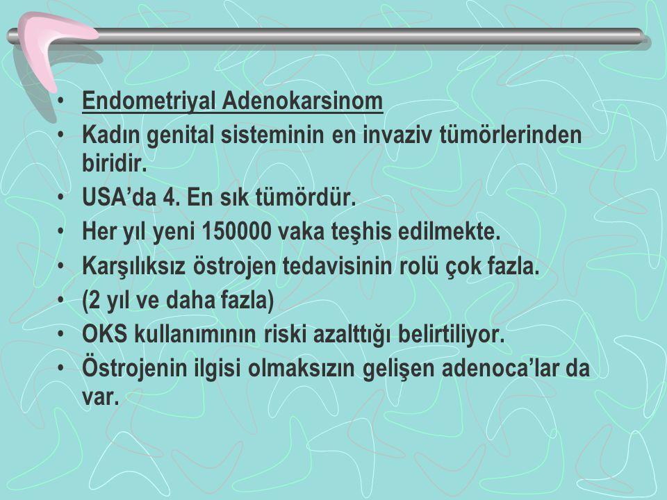 Endometriyal Adenokarsinom Kadın genital sisteminin en invaziv tümörlerinden biridir. USA'da 4. En sık tümördür. Her yıl yeni 150000 vaka teşhis edilm