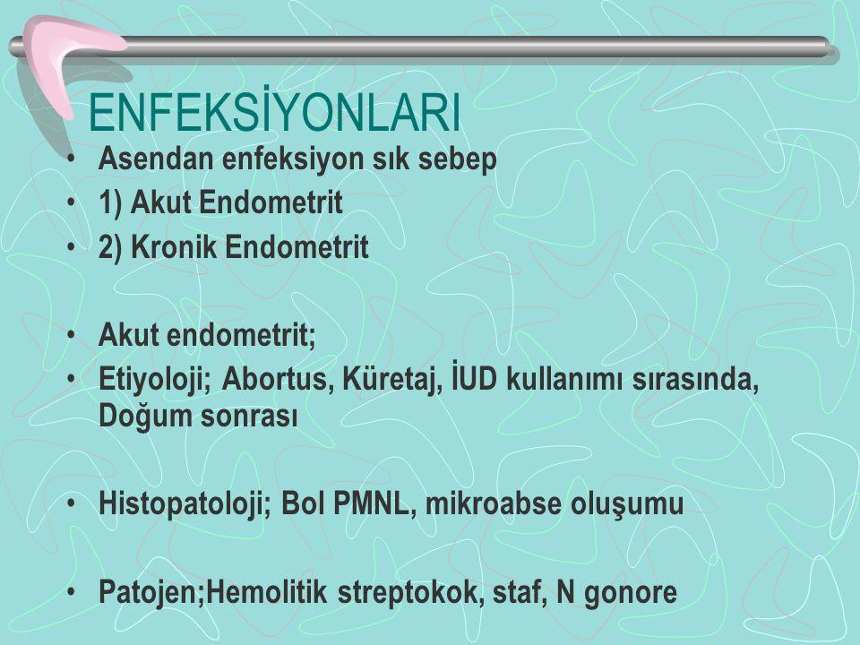 ENFEKSİYONLARI Asendan enfeksiyon sık sebep 1) Akut Endometrit 2) Kronik Endometrit Akut endometrit; Etiyoloji; Abortus, Küretaj, İUD kullanımı sırasında, Doğum sonrası Histopatoloji; Bol PMNL, mikroabse oluşumu Patojen;Hemolitik streptokok, staf, N gonore