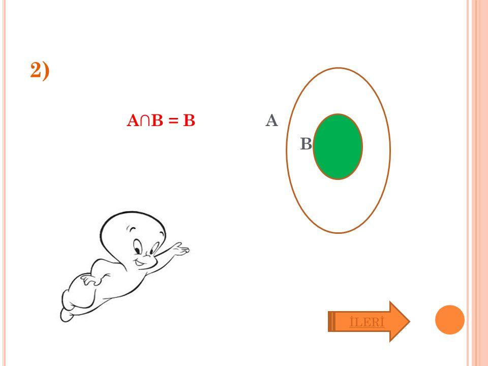 2) A∩B = B A B