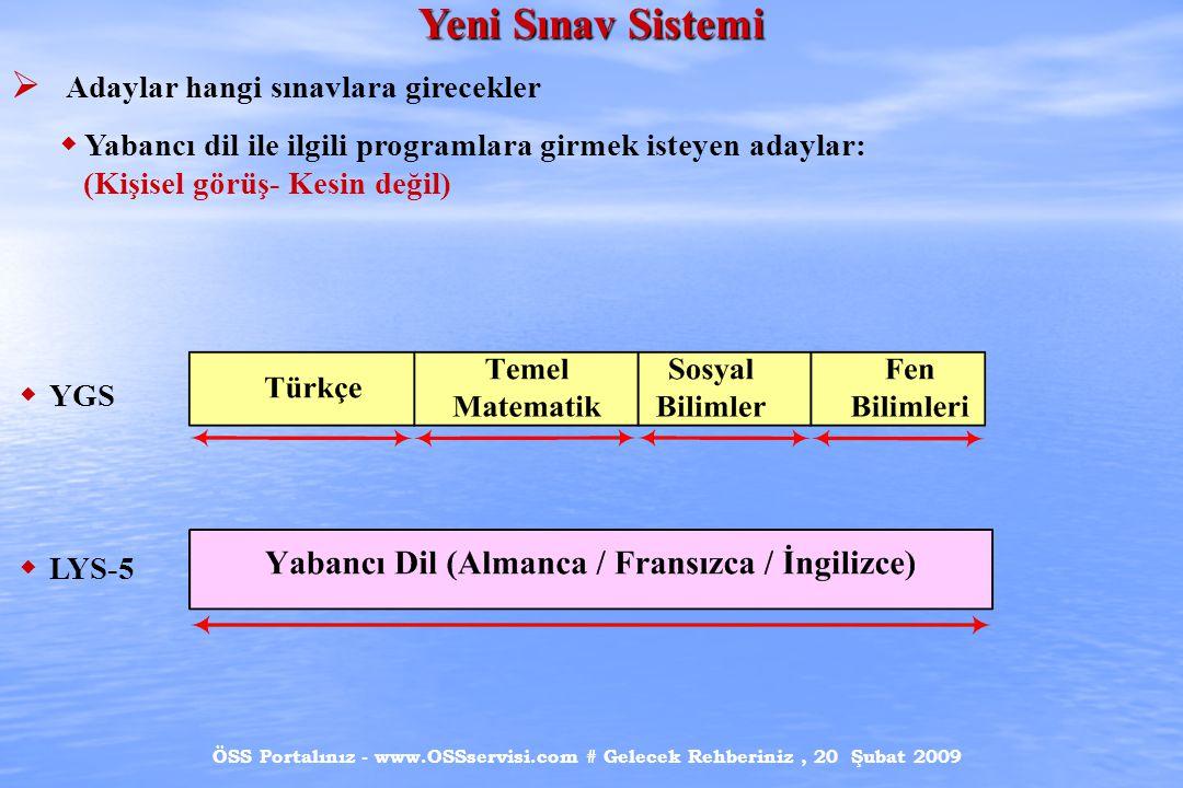 ÖSS Portalınız - www.OSSservisi.com # Gelecek Rehberiniz, 20 Şubat 2009 Yeni Sınav Sistemi  Adaylar hangi sınavlara girecekler  Yabancı dil ile ilgili programlara girmek isteyen adaylar: (Kişisel görüş- Kesin değil)  YGS  LYS-5