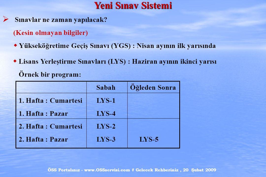 ÖSS Portalınız - www.OSSservisi.com # Gelecek Rehberiniz, 20 Şubat 2009 Yeni Sınav Sistemi  Sınavlar ne zaman yapılacak.