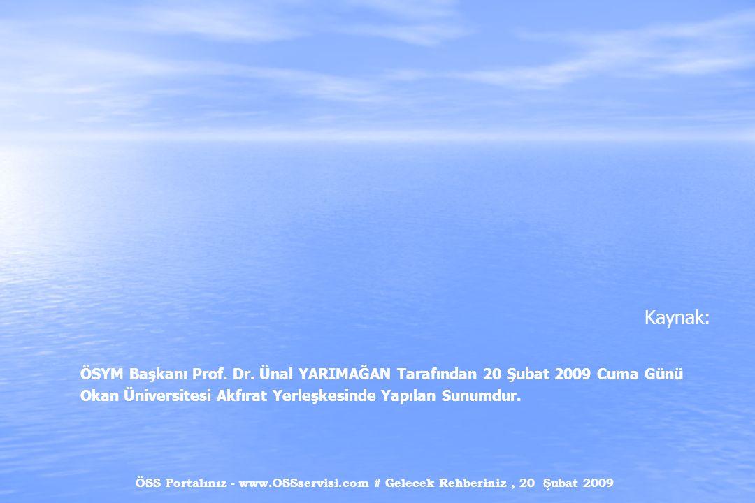 ÖSS Portalınız - www.OSSservisi.com # Gelecek Rehberiniz, 20 Şubat 2009 Kaynak: ÖSYM Başkanı Prof. Dr. Ünal YARIMAĞAN Tarafından 20 Şubat 2009 Cuma Gü