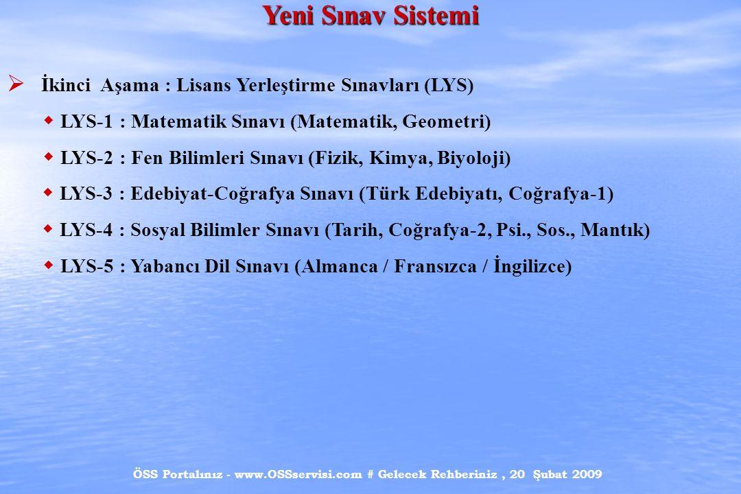 ÖSS Portalınız - www.OSSservisi.com # Gelecek Rehberiniz, 20 Şubat 2009 Yeni Sınav Sistemi  İkinci Aşama : Lisans Yerleştirme Sınavları (LYS)  LYS-1