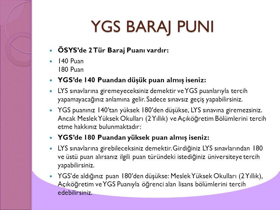 YGS BARAJ PUNI YGS BARAJ PUNI ÖSYS'de 2 Tür Baraj Puanı vardır: 140 Puan 180 Puan YGS'de 140 Puandan düşük puan almış iseniz: LYS sınavlarına giremeye