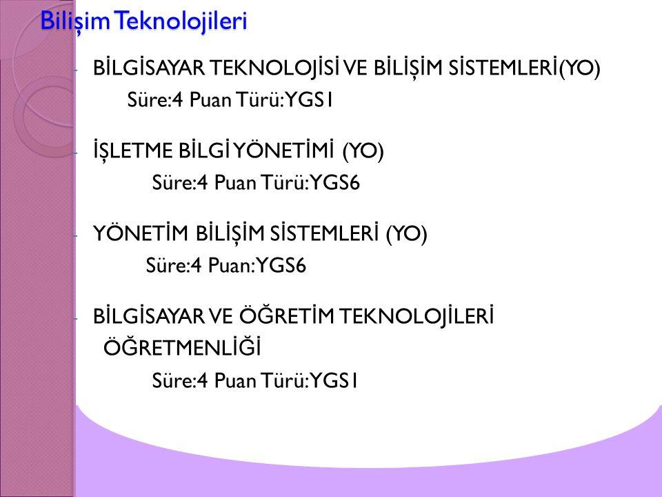 Bilişim Teknolojileri - B İ LG İ SAYAR TEKNOLOJ İ S İ VE B İ L İ Ş İ M S İ STEMLER İ (YO) Süre:4 Puan Türü:YGS1 - İ ŞLETME B İ LG İ YÖNET İ M İ (YO) S