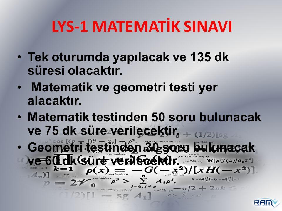 LYS-1 MATEMATİK SINAVI Tek oturumda yapılacak ve 135 dk süresi olacaktır. Matematik ve geometri testi yer alacaktır. Matematik testinden 50 soru bulun