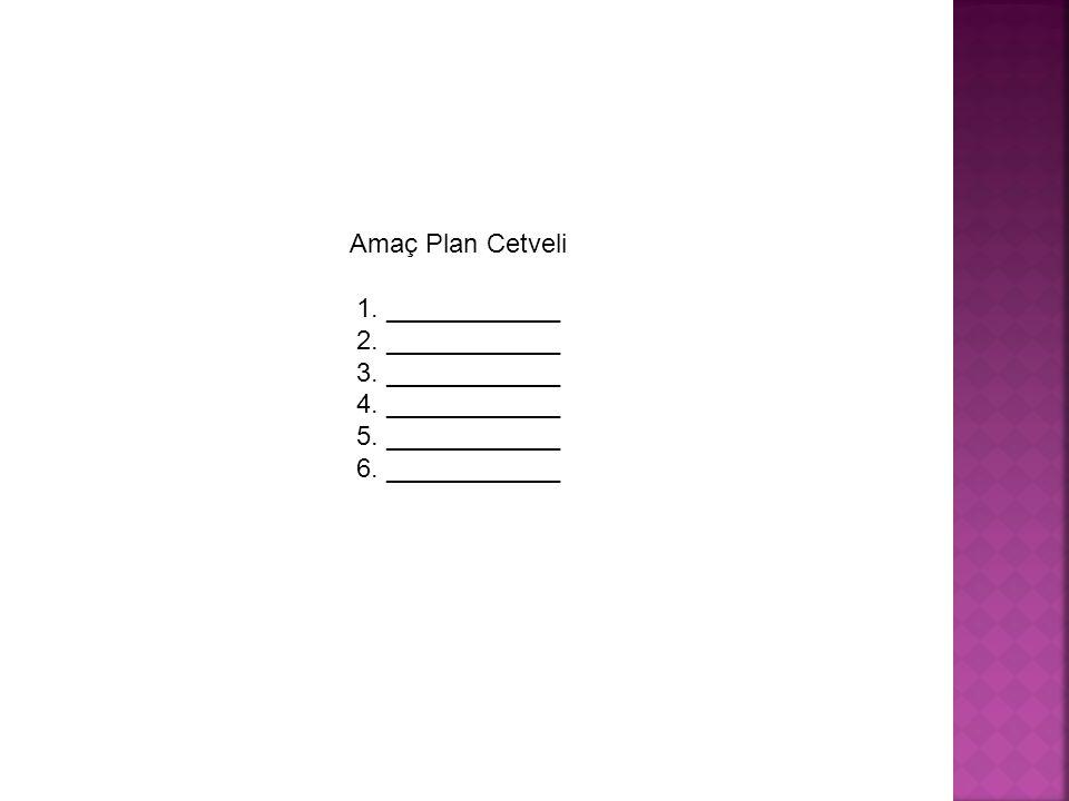 Amaç Plan Cetveli 1. ____________ 2. ____________ 3. ____________ 4. ____________ 5. ____________ 6. ____________