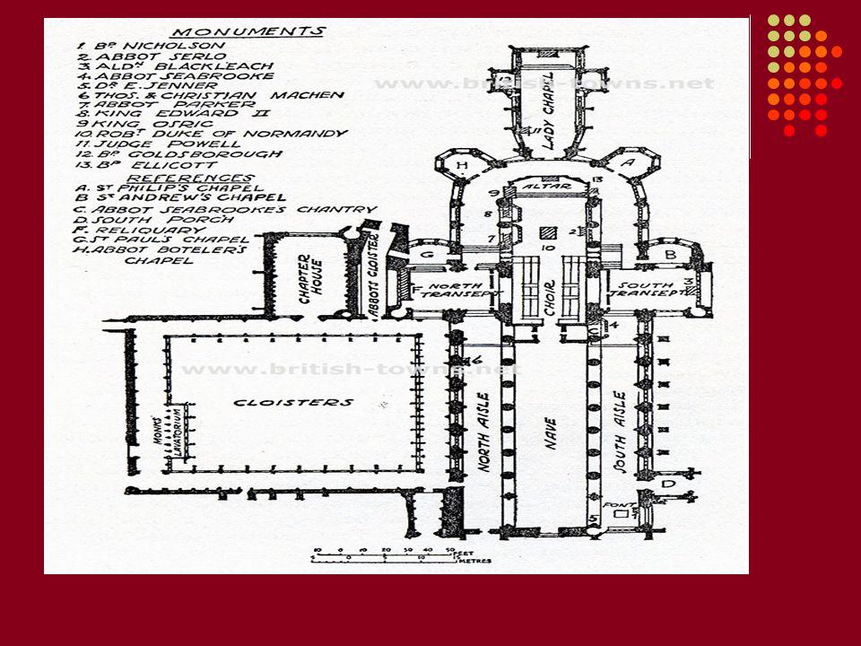 Dikey üslup ilk olarak Gloucester Katedralinin korosunda uygulandı.Asıl kilise Romanesk çağdan kalmıştı fakat tonozları Gotik çağda yapıldı ve koro bölümünde yeni bir üslup meydana geldi.İngiliz tonozu strüktürel bir yapı olmaktan çıkıp,karmaşık girinti ve çıkıntılarıyla klisenin en süslü yerini meydana getiriyordu.Tavanın genel etkisi üstüne bir çok süsler yapılmış ve sağlam inşa edilmiş bir tünel tonozdur.