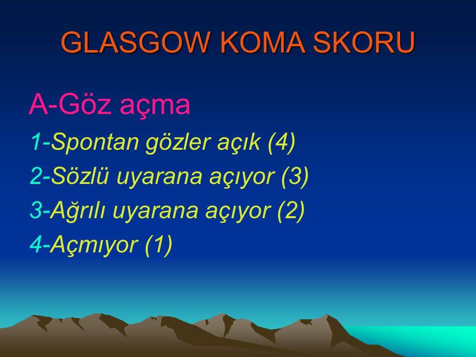 GLASGOW KOMA SKORU A-Göz açma 1-Spontan gözler açık (4) 2-Sözlü uyarana açıyor (3) 3-Ağrılı uyarana açıyor (2) 4-Açmıyor (1)