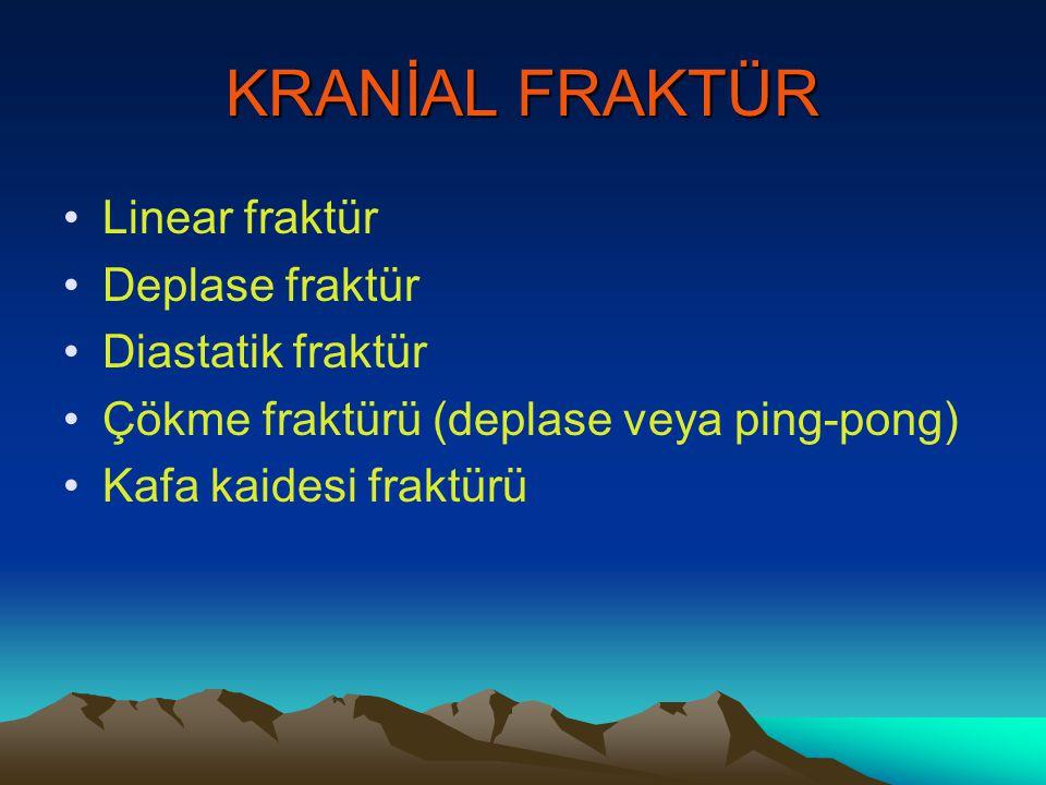 KRANİAL FRAKTÜR Linear fraktür Deplase fraktür Diastatik fraktür Çökme fraktürü (deplase veya ping-pong) Kafa kaidesi fraktürü