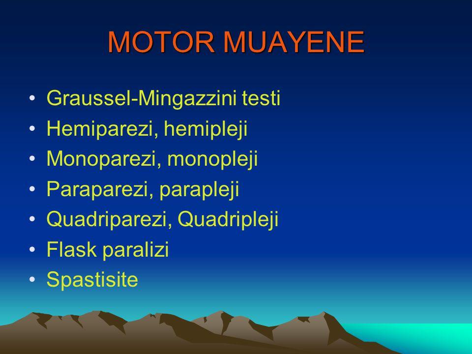 MOTOR MUAYENE Graussel-Mingazzini testi Hemiparezi, hemipleji Monoparezi, monopleji Paraparezi, parapleji Quadriparezi, Quadripleji Flask paralizi Spa