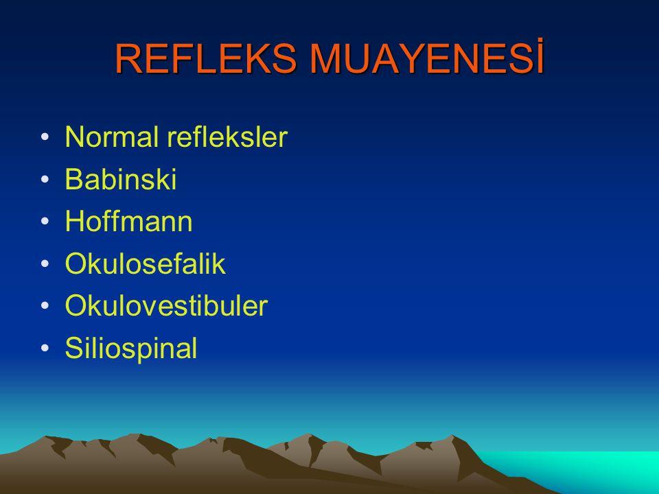REFLEKS MUAYENESİ Normal refleksler Babinski Hoffmann Okulosefalik Okulovestibuler Siliospinal
