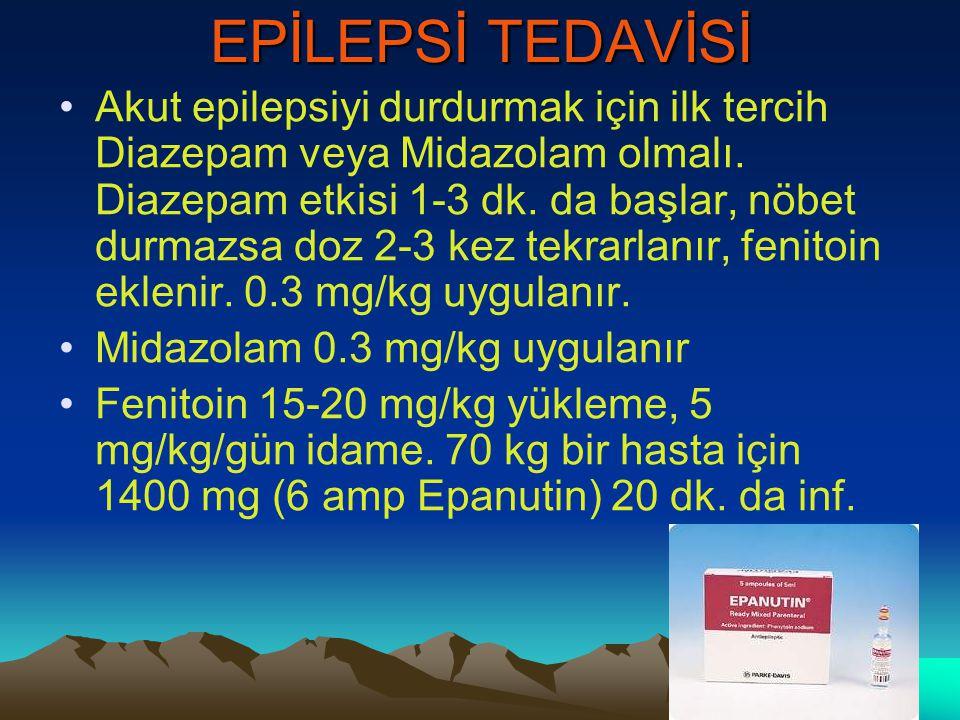 EPİLEPSİ TEDAVİSİ Akut epilepsiyi durdurmak için ilk tercih Diazepam veya Midazolam olmalı. Diazepam etkisi 1-3 dk. da başlar, nöbet durmazsa doz 2-3