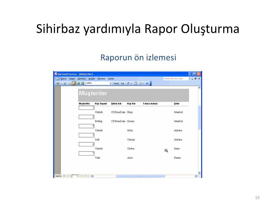 16 Sihirbaz yardımıyla Rapor Oluşturma Raporun ön izlemesi