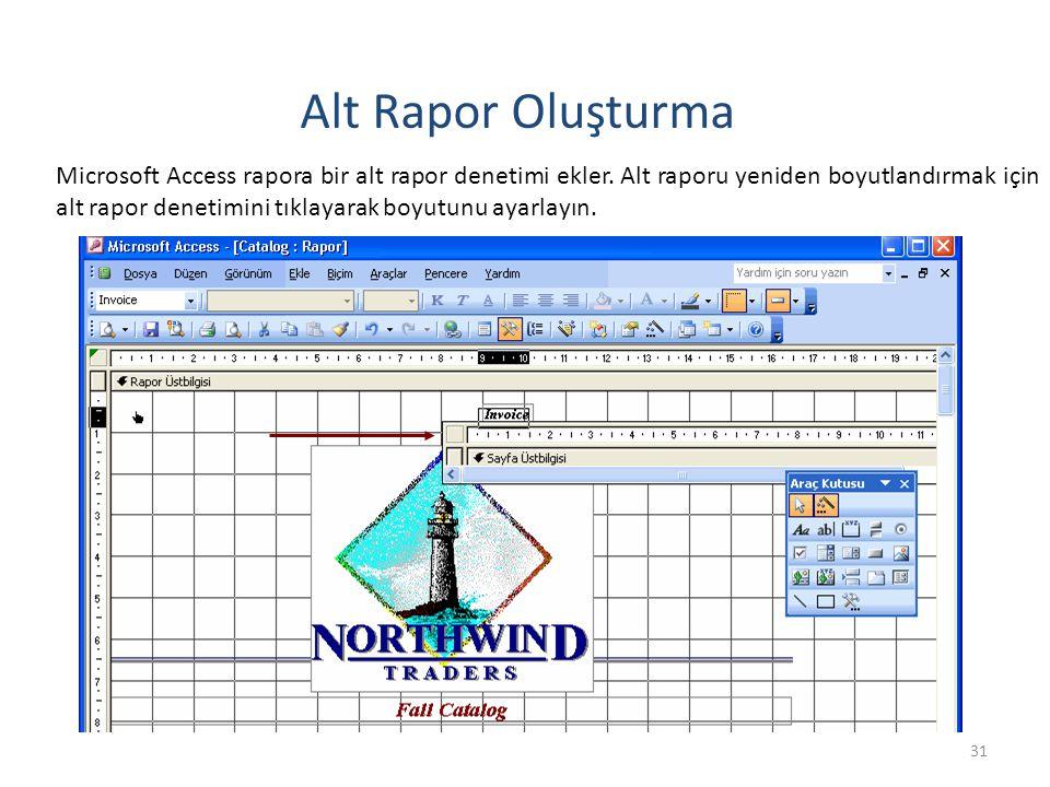 31 Alt Rapor Oluşturma Microsoft Access rapora bir alt rapor denetimi ekler.